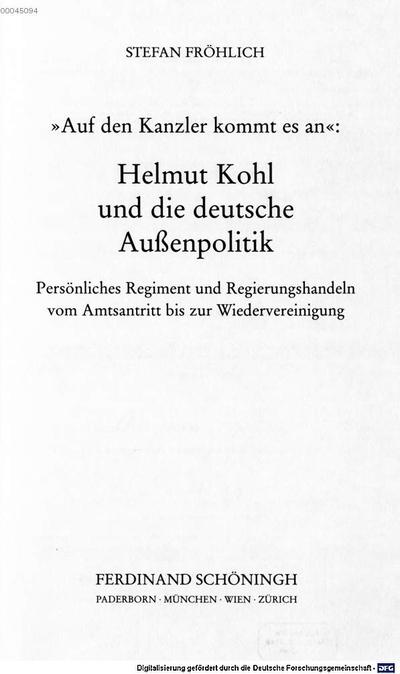Helmut Kohl - der deutsche Kanzler