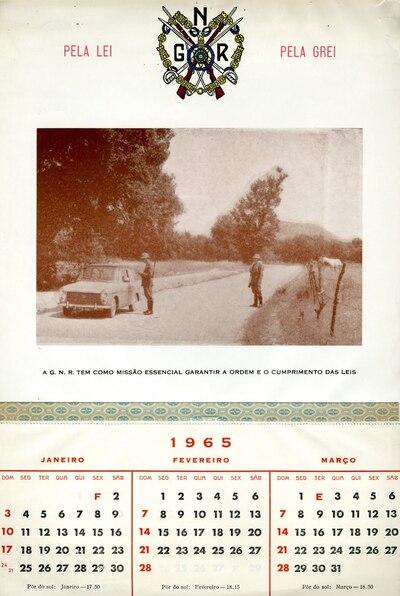 Calendário da Guarda Nacional Republicana [GNR] ano de 1965: [visual gráfico]