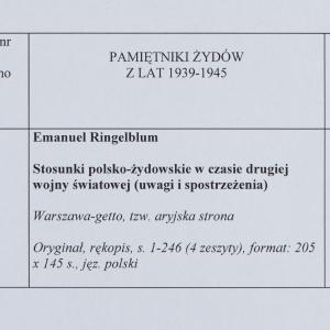 Stosunki polsko-żydowskie w czasie drugiej wojny światowej (uwagi i spostrzeżenia)
