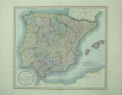 A New Map of Spain and Portugal. Divided into their Respective Kingdoms and Provinces