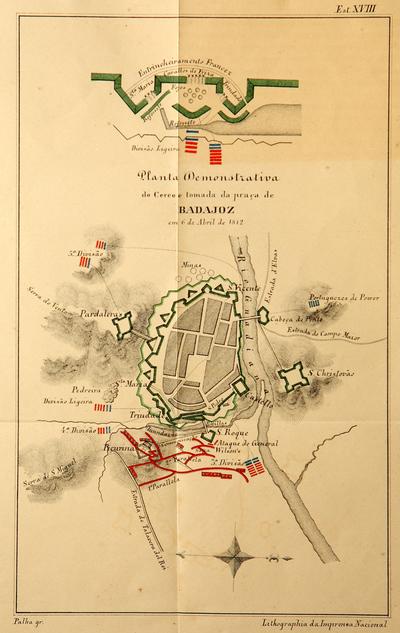 Planta demonstrativa do Cerco e tomada da praça de Badajoz em 6 de abril de 1812