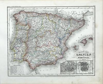 Neueste Karte von Spanien und Portugal
