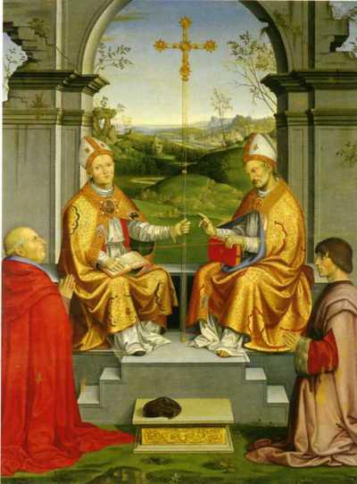 San Tommaso Becket e San Martino con il vescovo Giovan Pietro Arrivabene eil duca Guidubaldoil duca Guidubaldo