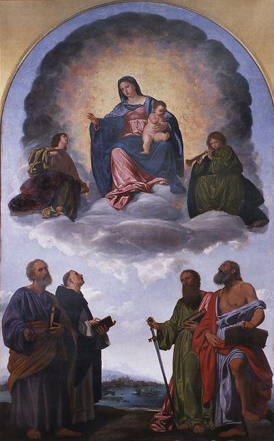 Madonna in gloria col Bambino, due angeli musicanti e i Santi Pietro, Domenico, Paolo e Girolamo. (Pala Pesaro)