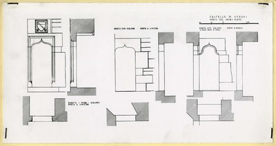 Castello di Verres/ Porte del primo piano/ Parete - nord - scalone porta a sinistra; Parete - sud - scalone porta a sinistra; Parete - est - scalone porta d'angolo