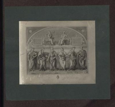 Perugia - Collegio del Cambio - Sala dell'udienza del Cambio - Fortezza e la Temperanza che sovrastano Lucio Licinio, Leonida, Orazio Coclite, Publio Scipione, Pericle e Cincinnato