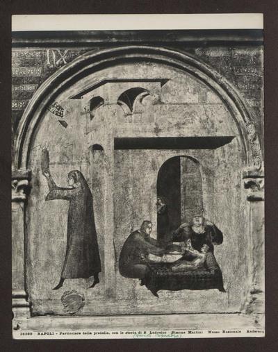 Napoli - Museo Nazionale di Capodimonte - Pala con S.Ludovico di Tolosa che impone al fratello Roberto d'Angiò la corona del regno di Napoli - Predella con le storie della Vita di San Ludovico di Tolosa