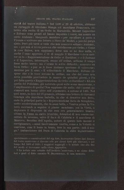 Alessandro D'Ancona, Origini del teatro italiano. Libri tre con due appendici sulla rappresentazione drammatica del contado toscano e sul teatro mantovano nel sec. 16., Torino, Ermanno Loescher, 1891, vol. 2., p. 107