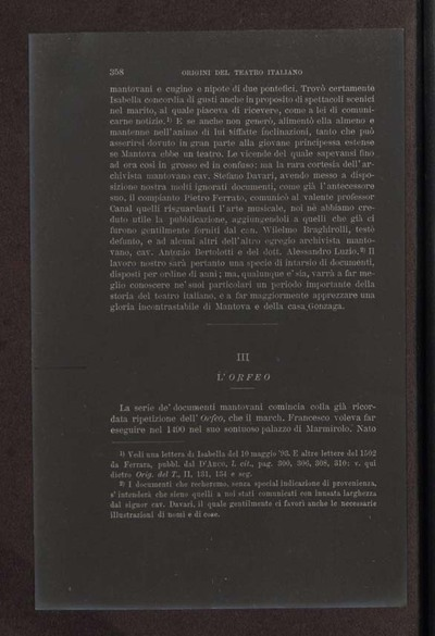 Alessandro D'Ancona, Origini del teatro italiano. Libri tre con due appendici sulla rappresentazione drammatica del contado toscano e sul teatro mantovano nel sec. 16., Torino, Ermanno Loescher, 1891, vol. 2., p. 358
