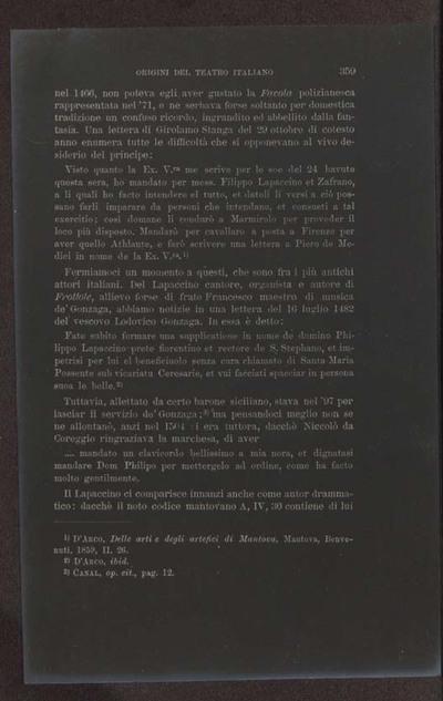 Alessandro D'Ancona, Origini del teatro italiano. Libri tre con due appendici sulla rappresentazione drammatica del contado toscano e sul teatro mantovano nel sec. 16., Torino, Ermanno Loescher, 1891, vol. 2., p. 359