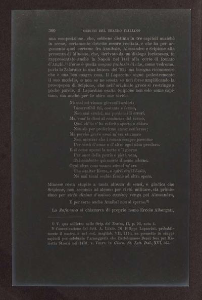 Alessandro D'Ancona, Origini del teatro italiano. Libri tre con due appendici sulla rappresentazione drammatica del contado toscano e sul teatro mantovano nel sec. 16., Torino, Ermanno Loescher, 1891, vol. 2., p. 360