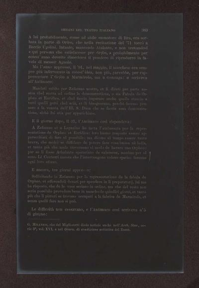 Alessandro D'Ancona, Origini del teatro italiano. Libri tre con due appendici sulla rappresentazione drammatica del contado toscano e sul teatro mantovano nel sec. 16., Torino, Ermanno Loescher, 1891, vol. 2., p. 363