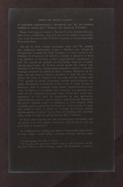 Alessandro D'Ancona, Origini del teatro italiano. Libri tre con due appendici sulla rappresentazione drammatica del contado toscano e sul teatro mantovano nel sec. 16., Torino, Ermanno Loescher, 1891, vol. 2., p. 365