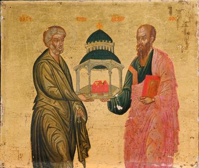 San Pietro e San Paolo sorreggono la chiesa