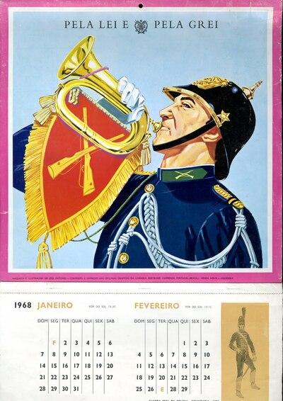 Calendário da Guarda Nacional Republicana [GNR] ano de 1968: [visual gráfico]
