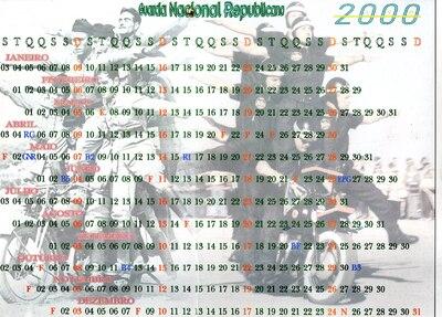 Calendário da Guarda Nacional Republicana [GNR] ano de 2000: [visual gráfico]