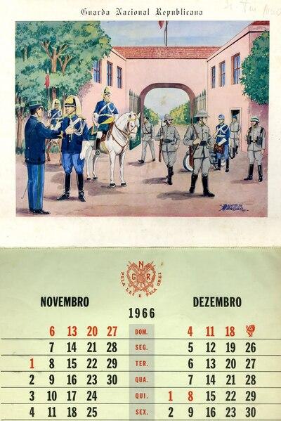 Calendário da Guarda Nacional Republicana [GNR] ano de 1966: [visual gráfico]