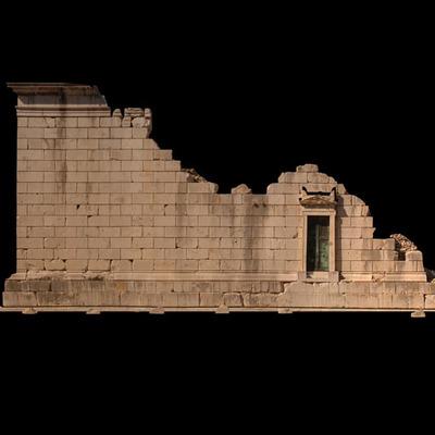 Orthophotographie de la façade est 2 du trophée des Alpes (la Turbie)