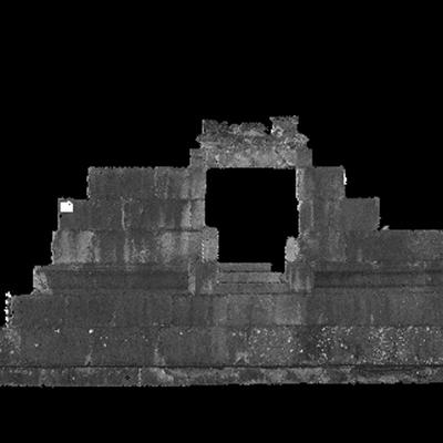 Orthophotographie de la façade nord du trophée des Alpes (la Turbie)