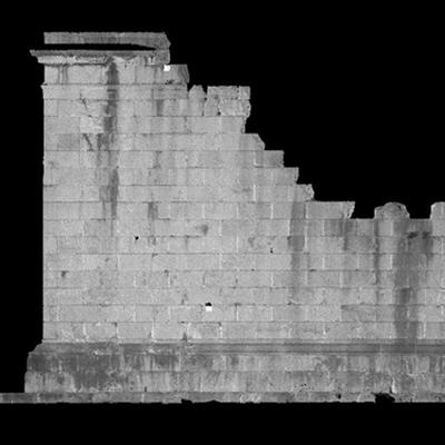 Orthophotographie de la façade sud 1 du trophée des Alpes (la Turbie)