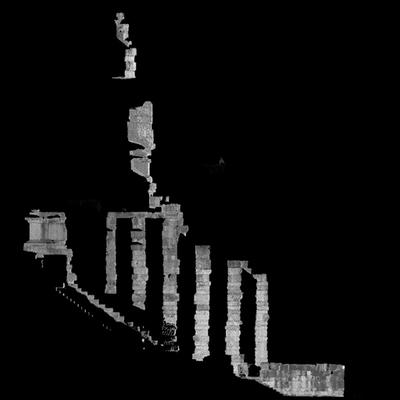 Orthophotographie de la façade sud 2 du trophée des Alpes (la Turbie)