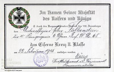 22.02.1915 - Peter erhält das Eiserne Kreuz
