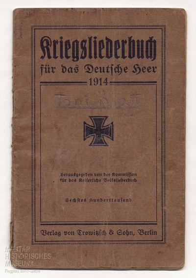 25.08.1914 - Für Peters Moral: Das Kriegsliederbuch