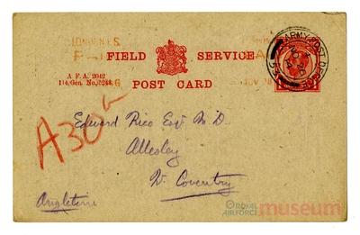 23.11.1914 - Bernard erhält einen Kuchen