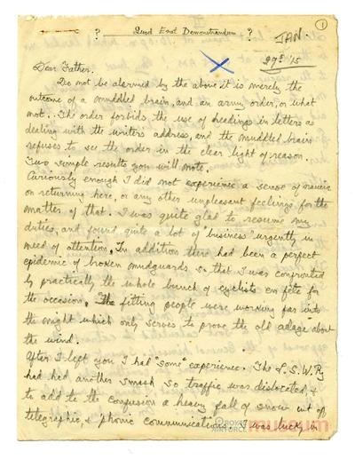 29.01.1915 - Bernard kehrt vom Fronturlaub zurück