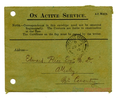 28.04.1915 - Bernard über grüne Briefumschläge
