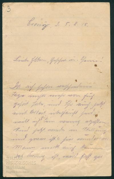 05.08.1915 - Peter feiert den Sieg von Warschau