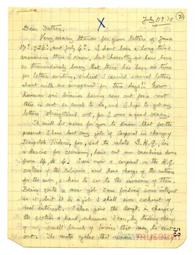 11.07.1915 - Bernard möchte Offizier werden