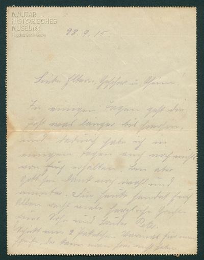 28.09.1915 - Peter mangelt es an Tabak