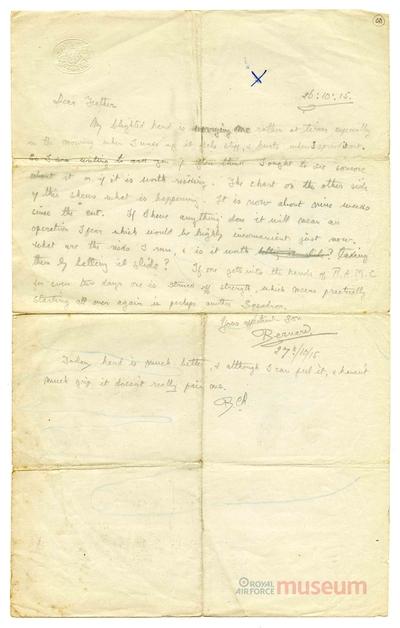 26.10.1915 - Bernard hat sich an der Hand verletzt
