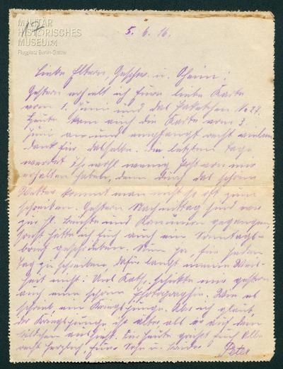 05.06.1916 - Peter wird Onkel