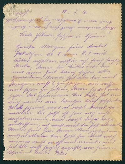 11.07.1916 - Peter sorgt sich um seine Schwester