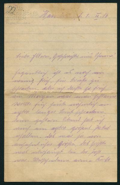 01.09.1916 - Peter wird von der Front abgezogen