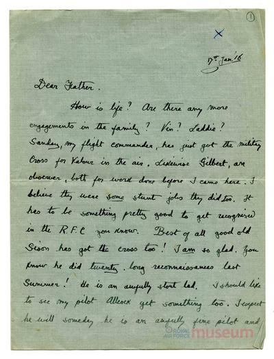 17.01.1916 - Bernard erhält Nachricht von Kriegsgefangenen (POWs)