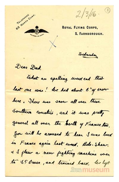 02.03.1916 - Bernard fliegt nach Frankreich