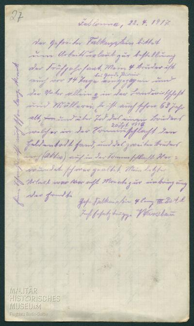 22.04.1917 - Die Familie Falkenstein im Frühjahr 1917