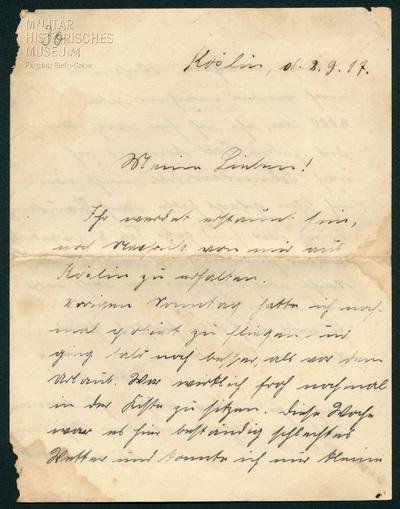02.09.1917 - Peter vor der zweiten Prüfung