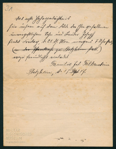 17.09.1917 - Familie Falkenstein lädt zum Jahresgedächtnis für Peters Bruder Joseph ein