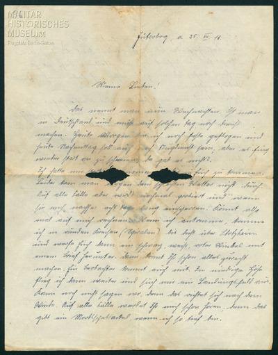 25.12.1917 - Peter möchte seine Familie mit dem Flugzeug besuchen