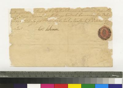 Promissory note of Levi Solomon to Solomon Simson, New York