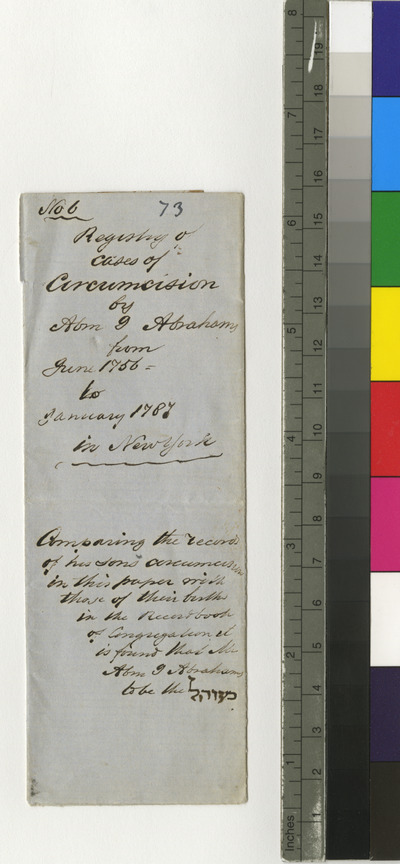 Registry of cases of circumcision by Abraham I. Abrahams in New York
