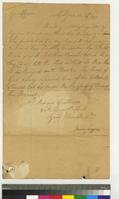Letter from Fanny Lazarus regarding seat for her son in the synagogue