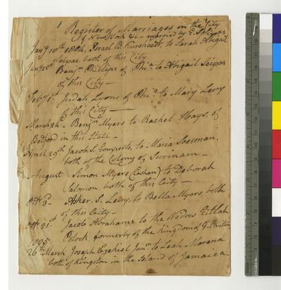 Memorandum of marriages and births by Reverend Gershom Seixas