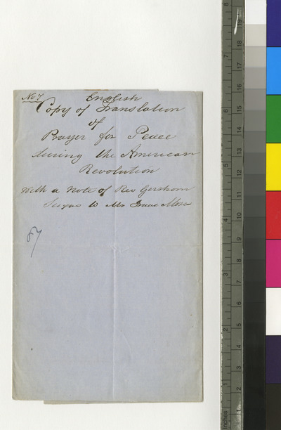 Copy of English translation of prayer for peace during the revolution, with note of Reverend Gershom Seixas to Isaac Moses