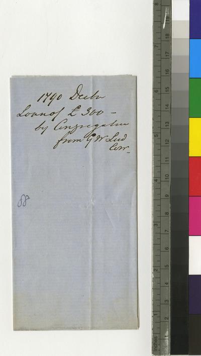 Memorandum regarding a loan made by G.W. Ludlow to the congregation