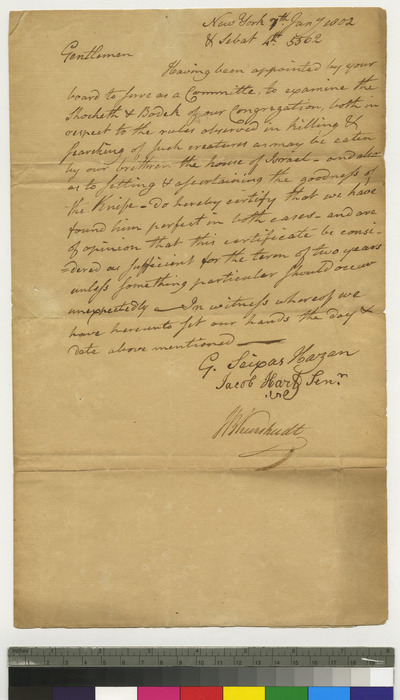Shochet's certificate